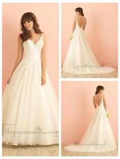V-neck A-line Lace Wedding Dress with Deep V-back