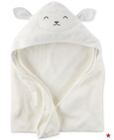 Almost too cute for words! This hooded lamb towel makes baby's bath time a touch more snuggly with a super soft terry towel fabric and an adorable lamb hood, complete with the ears!