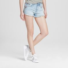 Women's Embroidered Denim Shorts - Mossimo Supply Co. Light Wash 0, Size: 00, Blue