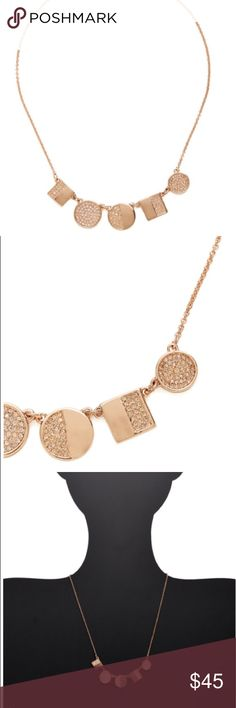 """Rose Gold Light The Lanterns Mini Necklace Rose gold-plated base metal multi-shape; pendant necklace with clear crystal details; Lobster clasp closure; Measurements: 15"""" long with 3½"""" extension chain, 0.55"""" pendant drop; Material: Rose gold-plated base metal and crystal; New With Tags kate spade Jewelry Necklaces"""