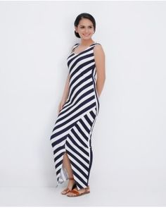 78cf3d859d54  MaxiStripeDress With Front Slit  LookFamous