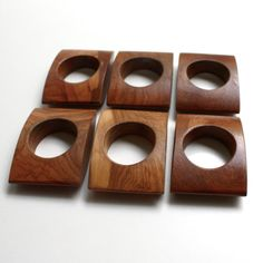 Wooden Napkin Rings | Vintage Modern Wooden Napkin Rings Set of by KitchenTableVintage