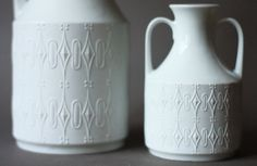 Set of Two White Matte German Porcelain Handled by GoGoBerlinette