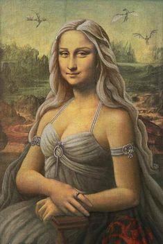 Daenerys Targaryen, as she might have been painted by Leonardo Da Vinci. ~ art by SolarShine. Lisa Gherardini, La Madone, Mona Lisa Parody, Mona Lisa Smile, Mother Of Dragons, Funny Art, Oeuvre D'art, Caricature, Art History