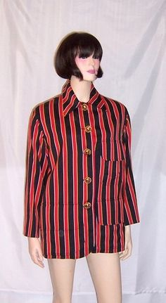 1980's Red Black and Yellow Striped Moschino by PatriciaJon