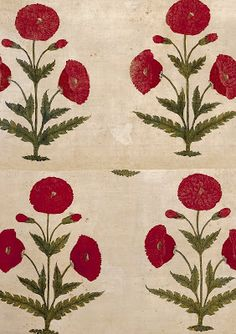 Mughal Empire floral floorspread, painted & dyed cotton, late 17th-early 18th century, V&A Museum,
