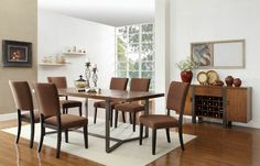 7 pc Northwood collection natural brown finish wood with wrapped metal band base dining table set