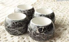 Napkin Rings, Rustic Black and White Table Decor, Set of 4.. $26.80, via Etsy.