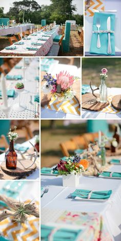 Turquoise and yellow table decor in Texas antler