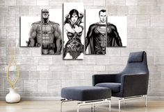 Style Your Home Today With This Amazing 5 Panel Justice League Superman, Batman, And Wonder Woman Framed Wall Canvas For $99.00  Discover more canvas selection here http://www.octotreasures.com  If you want to create a customized canvas by printing your own pictures or photos, please contact us.