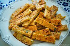 Zarte Linsensticks mit Rhabarbecue-Sauce und Artischocken-Kresse-Dip Superfood, Snacks Für Party, Sweet Potato, Dip, Carrots, Main Dishes, Vegan Recipes, Potatoes, Vegetables