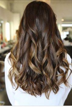 Brunet hair with Carmel highlights. Want❤️