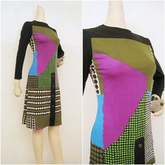 70s Dress Vintage OP ART Abstract Psychedelic MOD by voguevintage, $48.00
