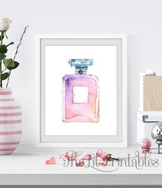 Perfume Printable Makeup Wall Decor Teen Wall by TheLilPrintables Printable Designs, Printable Wall Art, Teen Wall Art, Pink Bedroom Decor, Online Printing Companies, Makeup Room Decor, Beauty Room, As You Like, Wall Art Prints