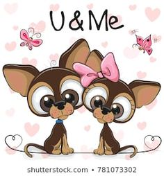 Illustration about Two Cute Cartoon Dogs on a hearts background. Illustration of beautiful, luck, cheerful - 106589750 Cartoon Images, Cute Cartoon, Cute Images, Cute Pictures, Puppy Flowers, Chihuahua Art, Heart Background, Dog Art, Paisley