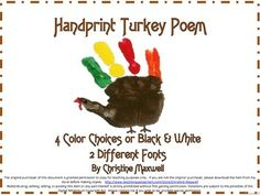 Thanksgiving Turkey Handprint Poem and Keepsake