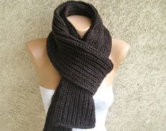 Chunky Knit Men Women Scarf / Army green Long Thick by dimana