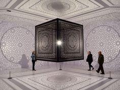 A replica of Anila Quayyum Agha's winning piece from