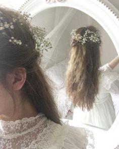 Name mood board for Hannah -grace -Pastel Spring Awakening, White Aesthetic, English Roses, Hopeless Romantic, Tangled, Her Hair, Wild Flowers, Hair Makeup, Hair Beauty