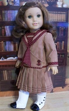 Rebecca Rubin Hairstyle: Hairclip Footwear: White crocheted stockings Shoes: two tone boots Material: thin Outfit: long sleeve middy dress Color: burgundy and stripes Timeline: Occasion: Home style American Girl Outfits, American Girl Doll Shoes, American Girl Crafts, American Doll Clothes, Ag Doll Clothes, Doll Clothes Patterns, American Girls, Doll Patterns, Middy Dress