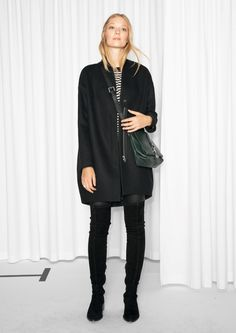 & Other Stories   Wool-Blend Coat - knee high boots