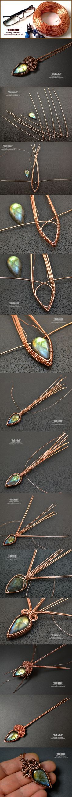 Copper wire-wrapped teardrop labradorite pendant