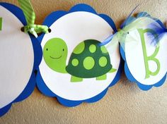 Turtle Party Welcome Baby Party Banner Tommy by ScrapYourStory, $25.95