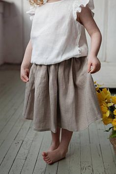 4a568f54ca82 Linen midi skirt 1st birthday outfit Baby girl clothes Baby 1st Birthday  Outfits