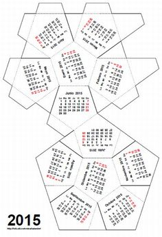 Content in a Cottage: 2012 Calendar -- Geosphere, Calendar with… 3d Paper Crafts, Paper Toys, Diy Paper, Paper Art, Diy And Crafts, 2012 Calendar, Desktop Calendar, Desk Calendars, Weekly Calendar
