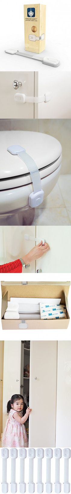8 Adjustable Child Safety Locks (White) - BONUS Spare Tape - Vanguard Safety Adjustable Cabinet Locks with 3M Adhesive for Cabinets & Drawers - Easy Installation, Ideal for Home Safety ...