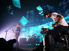 Thom Yorke, Phil Selway and Jonny Greenwood performing live in Sydney. Radiohead just released a new album,  A Moon Shaped Pool.