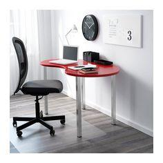 HISSMON / SJUNNE Table - red/nickel plated - IKEA
