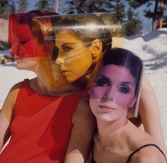 Peggy Moffitt with Lydia Field and Léon Bing Wearing Sun Visors by Rudi Gernreich, 1965