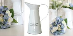Emalikannut ja ruusu-hortensia somistekukkakimput, somistevuokraamo.fi Jug vases and decorative bouquets/centerpieces