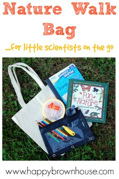 Prepare materials needed for nature walks ahead of time to have a quick grab-and-go bag for little science explorers. This is perfect for Charlotte Mason style Nature Walks and Nature Study. Includes a list of recommended science materials and creative nature walk ideas.
