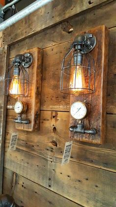 Vintage industrial barn wood wall sconce, light or lamp. Made in the USA from Re-purposed MN barn wood. Vintage Industrial Lighting, Vintage Industrial Furniture, Industrial Pipe, Wall Sconce Lighting, Wall Sconces, Pipe Lighting, Barn Lighting, Lampe Steampunk, Steampunk Furniture