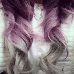 Purple and Gray Hair hair purple hair hairstyles colored hair hair colors hair ideas hair trends 2 toned gray hair