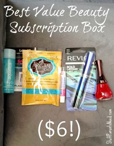 """Beauty Box 5: One of the best """"bang for your buck"""" beauty subscription boxes. You can get a box for as little as $6, including shipping. LOVE!!!"""