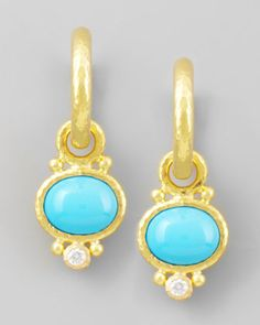Turquoise & Diamond Earring Pendants by Elizabeth Locke at Neiman Marcus.