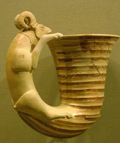 Vessel with a handle in the form of a Ram, 8th-7th century BCE, Iran, ceramic and paint