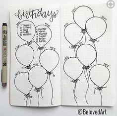 Bullet journal collection ideas birthday balloons