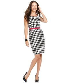 NEED. London Times Dress, Sleeveless Belted Houndstooth Sheath - Womens Dresses - Macy's
