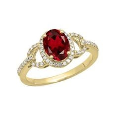 Halo Style Engagement Ring 1.45 Carat (ctw) 18K Yellow Gold Oval Cut... ($559) ❤ liked on Polyvore featuring jewelry, rings, yellow, garnet engagement rings, round cut engagement rings, yellow gold rings, gold garnet ring and white gold diamond rings