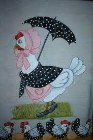 Resultado de imagem para galinha de touca pintura em tecido