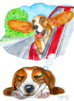 A Dog's Dream  Print of Original Watercolor от OzarksArtStudio
