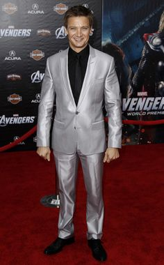 Jeremy Renner sparkles in silver at 'The Avengers' World Premiere. Do you like his suit?   Photo Credit: AP Photo/Matt Sayles