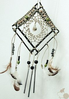 Natural Hemp Dream Catcher, Branches, Chicken Feathers, Wood Beads, Quartz Crystal, Eco Friendly on Etsy, $35.00