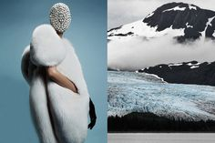 Agata Rudko photographed by Billy Nava for Schön! Magazine wearing Ulyana Sergeenko fur coat & Maison Martin Margiela mask and gloves | Glacier in Alaska photographed by Guy Myers