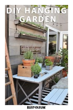 Don't have space for a traditional garden? Transform reclaimed wood and gutters into a gorgeous vertical garden! Use Rust-Oleum Universal Spray Paint and Varathane Wood Stain for a look that's both rustic and modern. Perfect for small patios and balconies, you can tackle this easy DIY project on a budget and in one weekend. Diy Projects On A Budget, Outdoor Projects, Garden Projects, Garden Ideas, Garden Tools, Rustic Gardens, Outdoor Gardens, Vertical Garden Wall, Diy Hanging