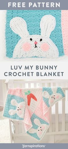 Free Luv My Bunny Blanket crochet pattern using Red Heart Baby Hugs Medium yarn. Easter Crochet, Crochet For Kids, Free Crochet, Bunny Blanket, Blanket Crochet, Baby Sense, Baby Hug, Diy Holiday Gifts, Red Heart Yarn